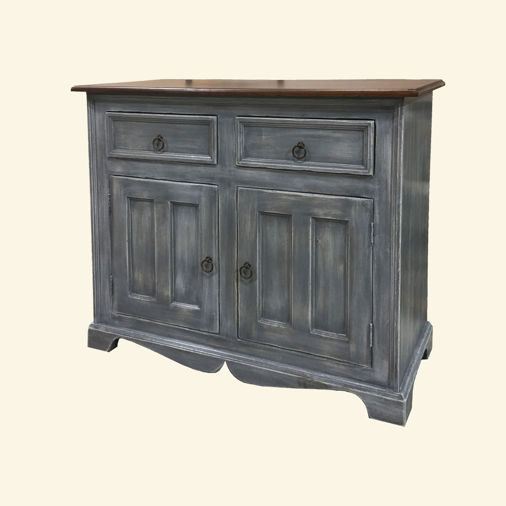 French Country Two Door Buffet painted Storm Gray