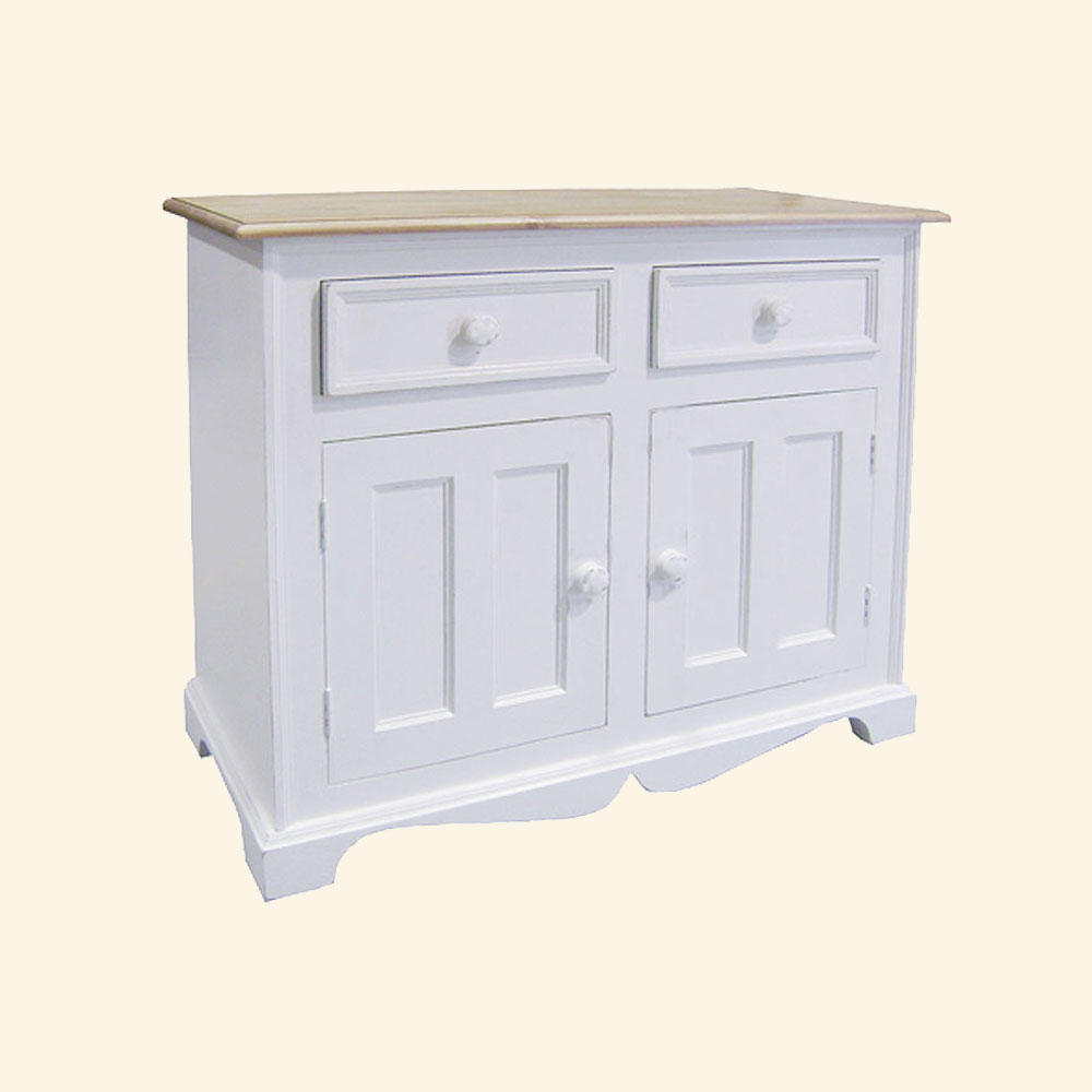 French Country Two Door Buffet painted White
