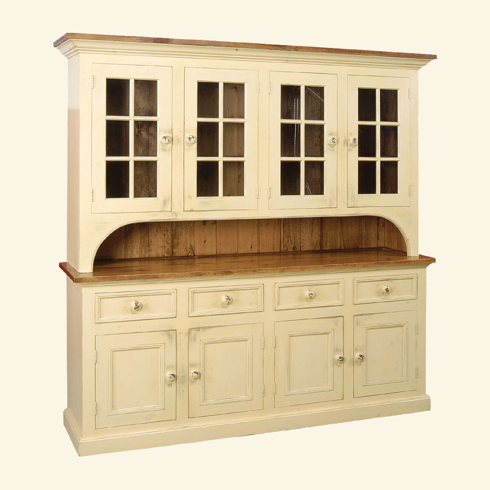 4 door glass stepback cupboard