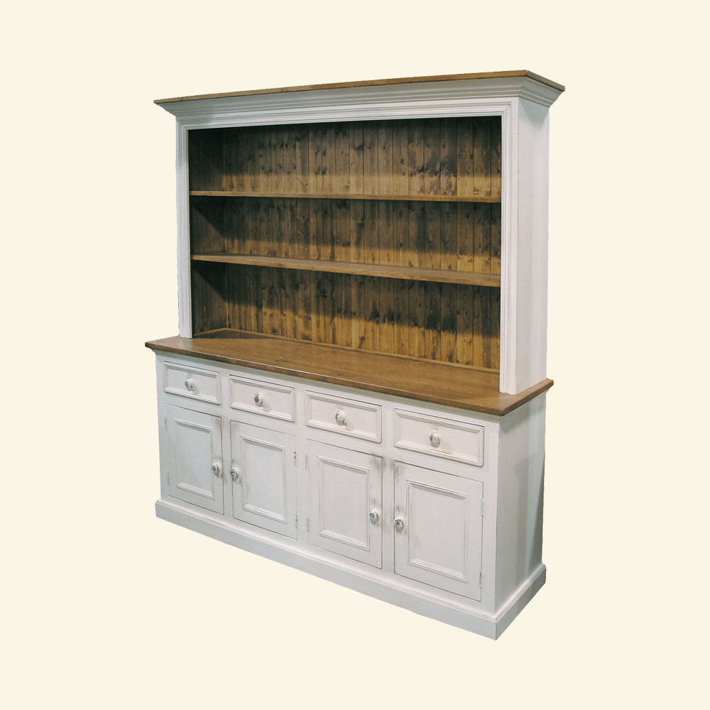 French Country 4 Door Open Shelf Cupboard