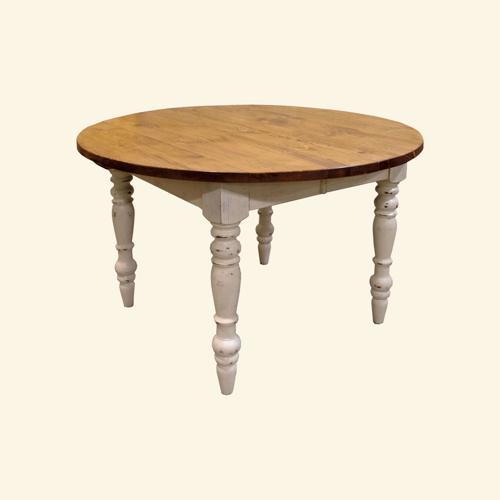 48 inch round turned leg dining table with extensions