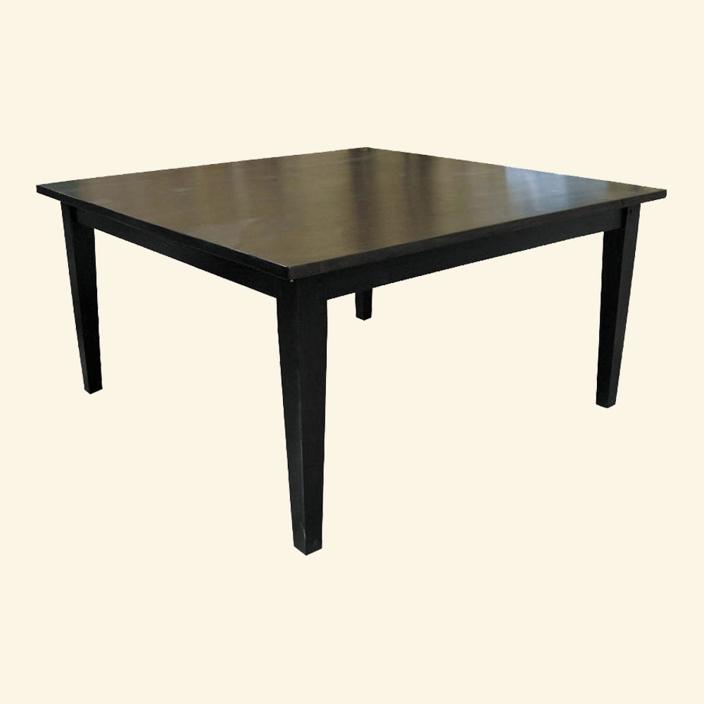 60 Square Table, Tapered Leg, Black Paint