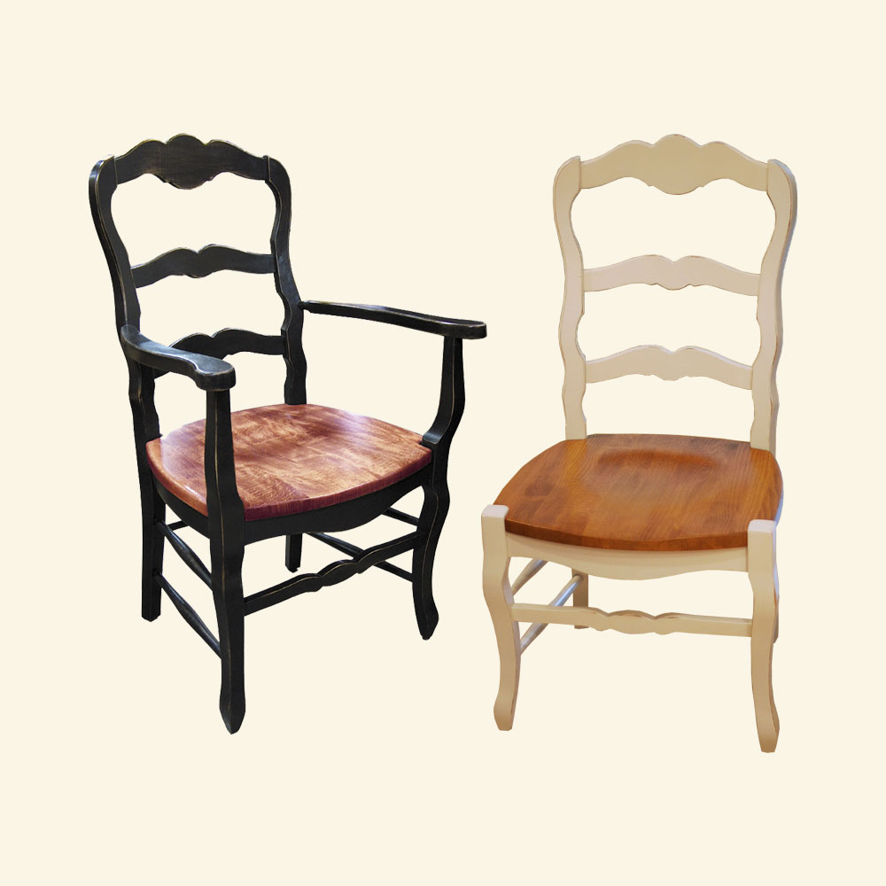 Country French Ladderback Arm And Side Dining Chair