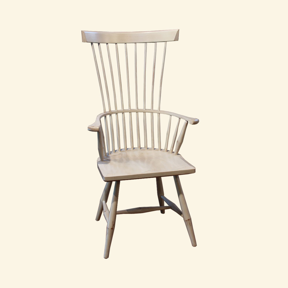 French Country Fan Back Arm Chair, Millstone paint