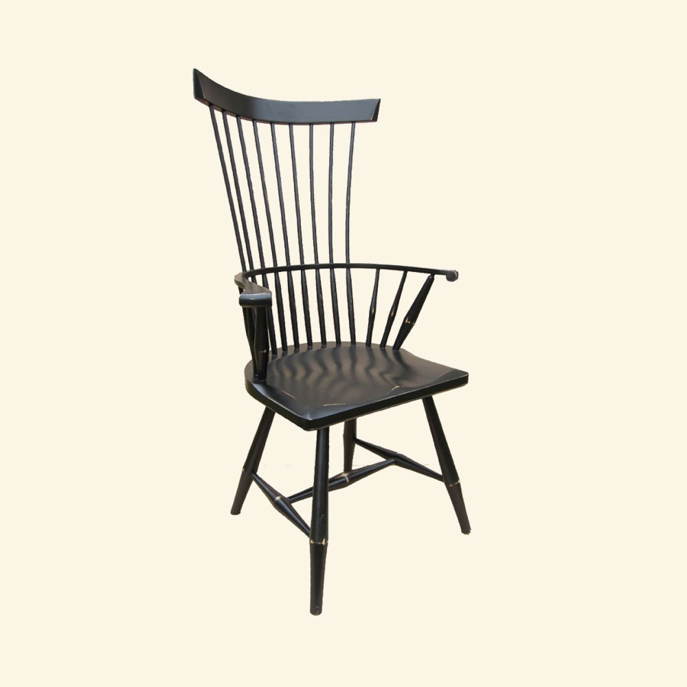 French Country Fan Back Arm Chair, Black paint