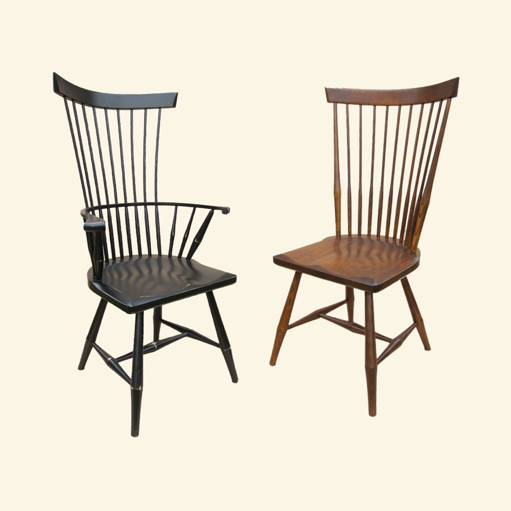 French Country Fan Back Side Chair and Arm Chair