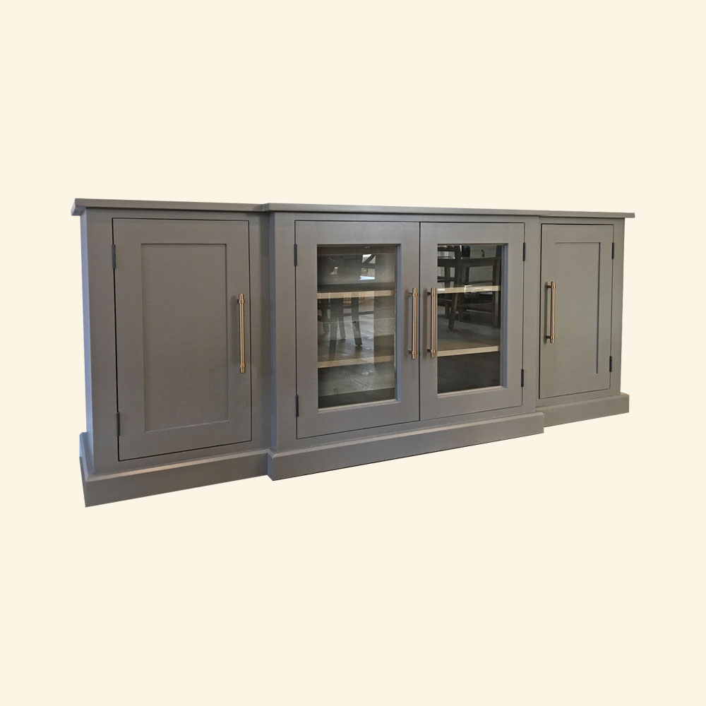 French Country Glass Door Media Stand, Gray paint