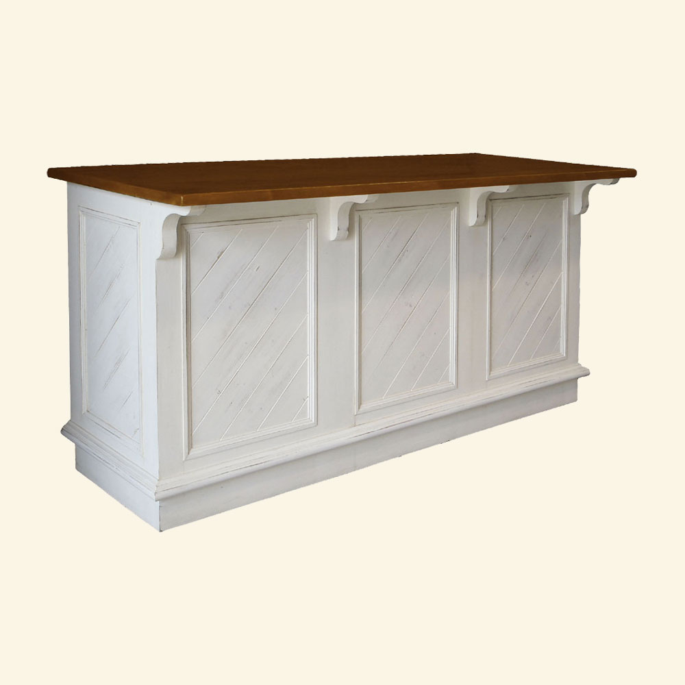 French Country Kitchen Island Open Shelf