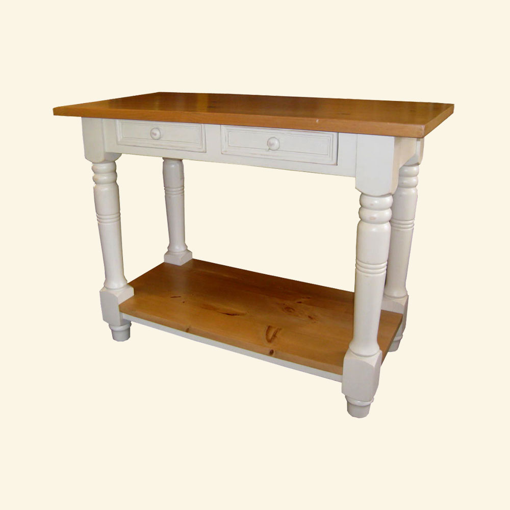 French Country Kitchen Island Work Table Champlain White