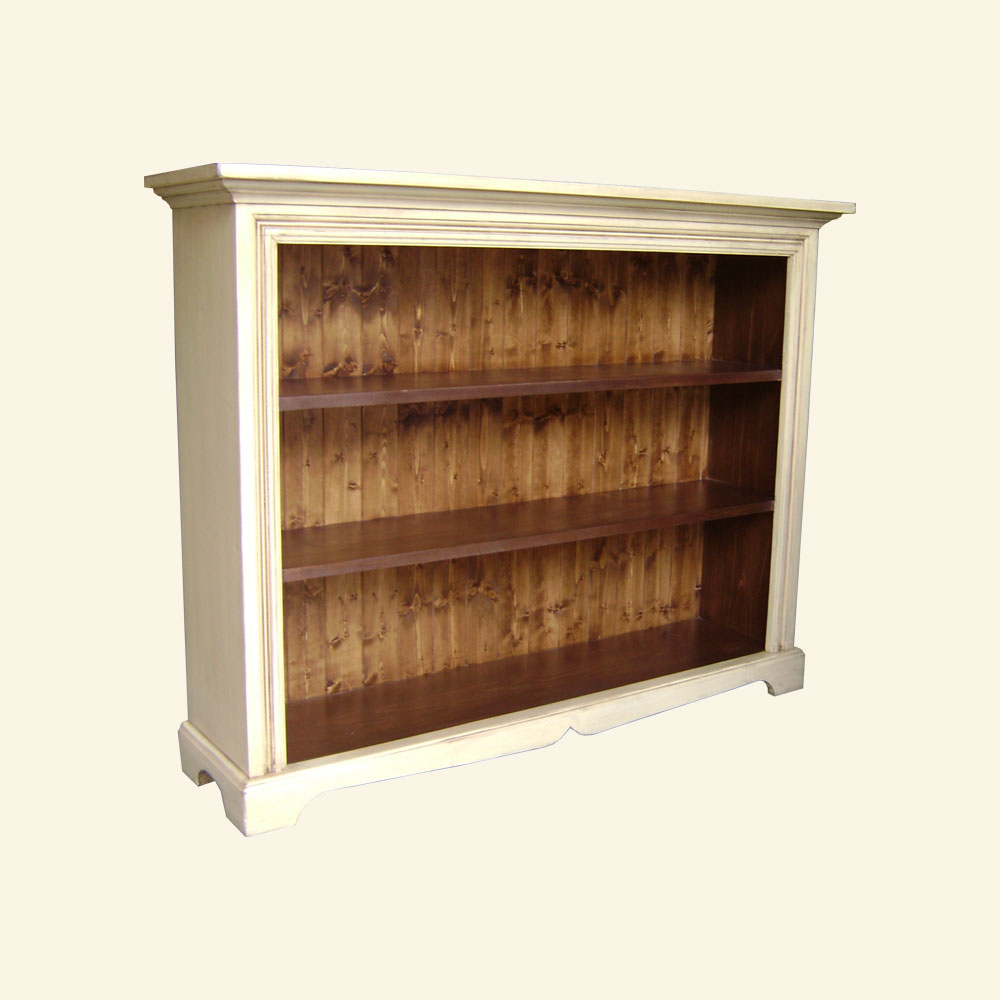 French Country Low Bookcase, Buttermilk
