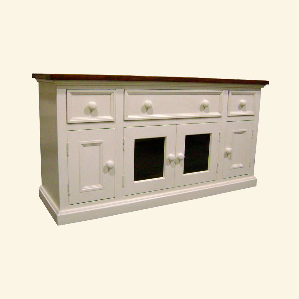 French Country Media Console painted Champlain White