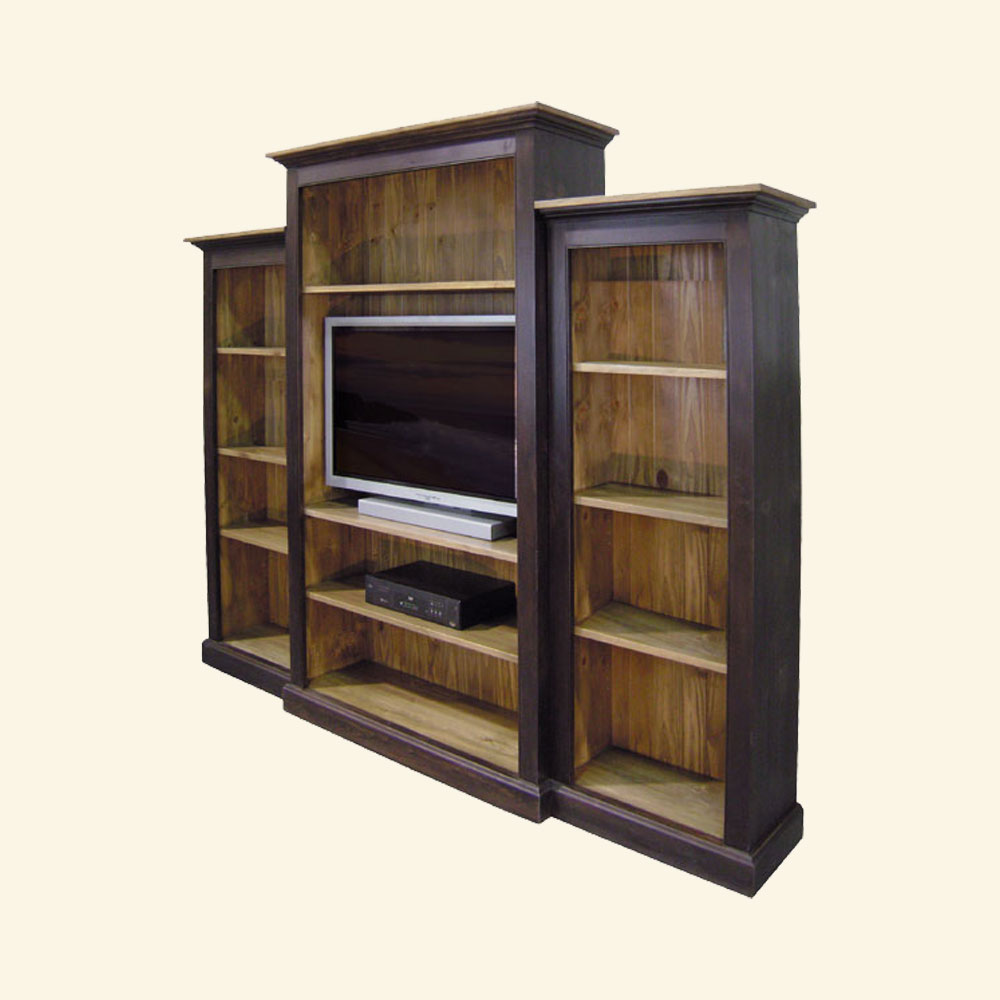 French Country Nesting Bookcase Wall Unit, stained