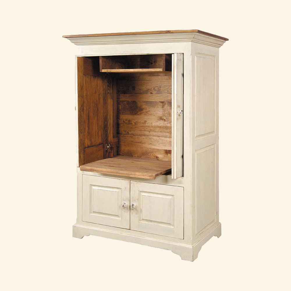 French Country Pocket Door TV Armoire, White
