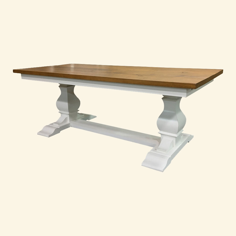 Provincial Trestle Table with Champlain White paint finish