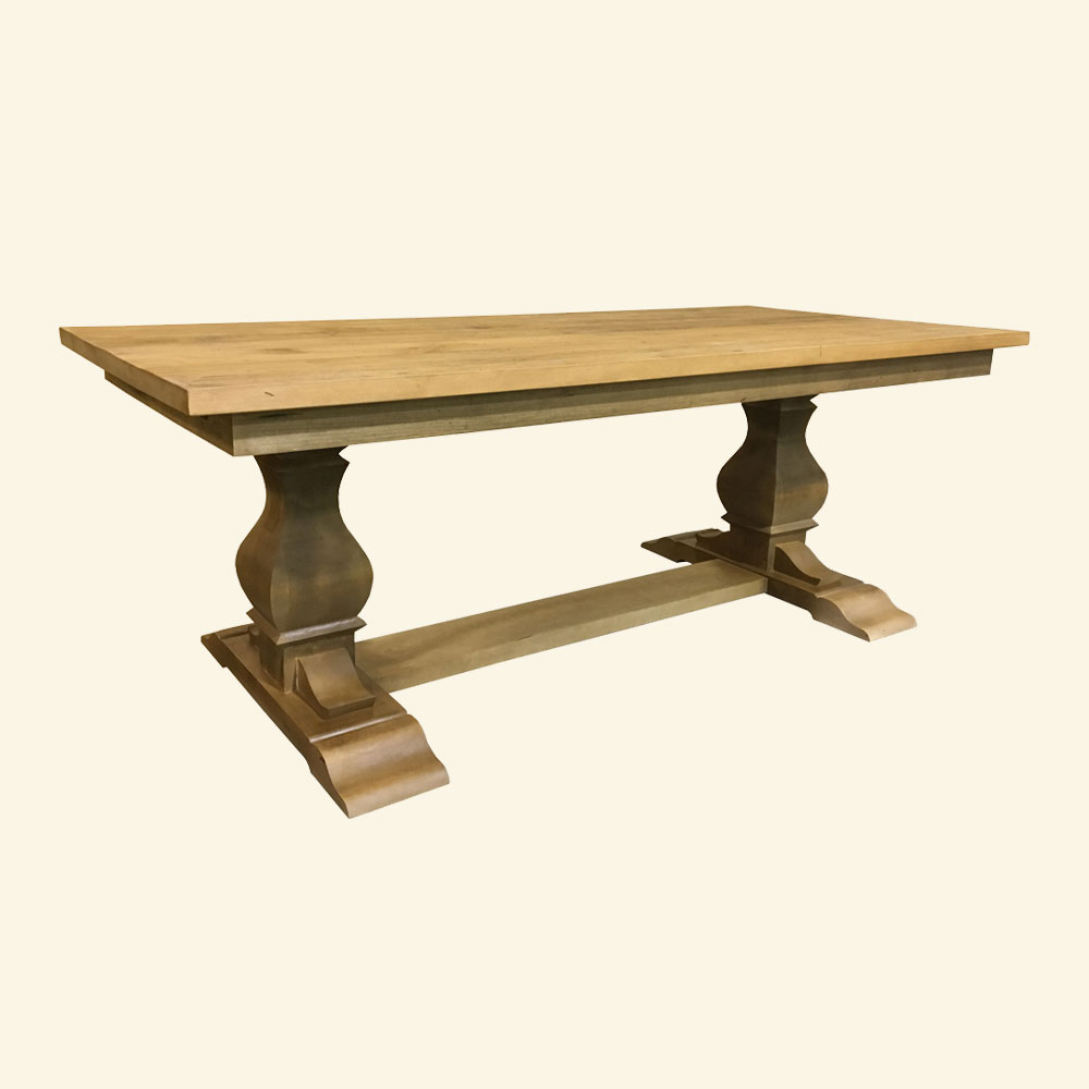 Provincial Trestle Table with Natural wood stain