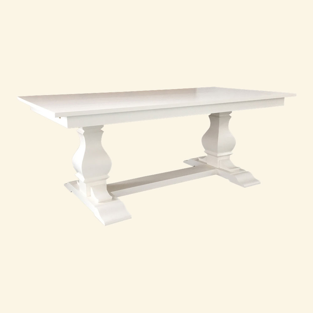 French Country Provincial Trestle Table in White milk paint