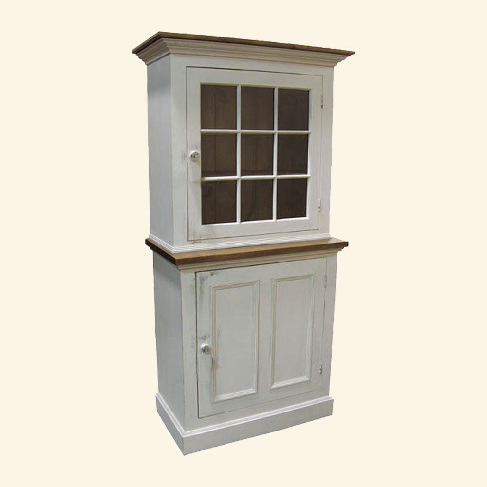 French Country Single Glass Door Cupboard painted white