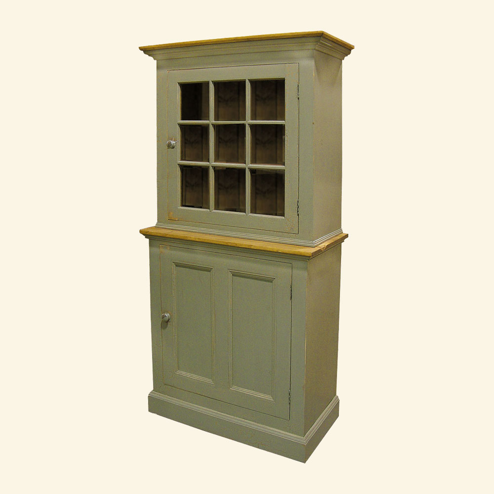 French Country Single Glass Door Stepback Cupboard