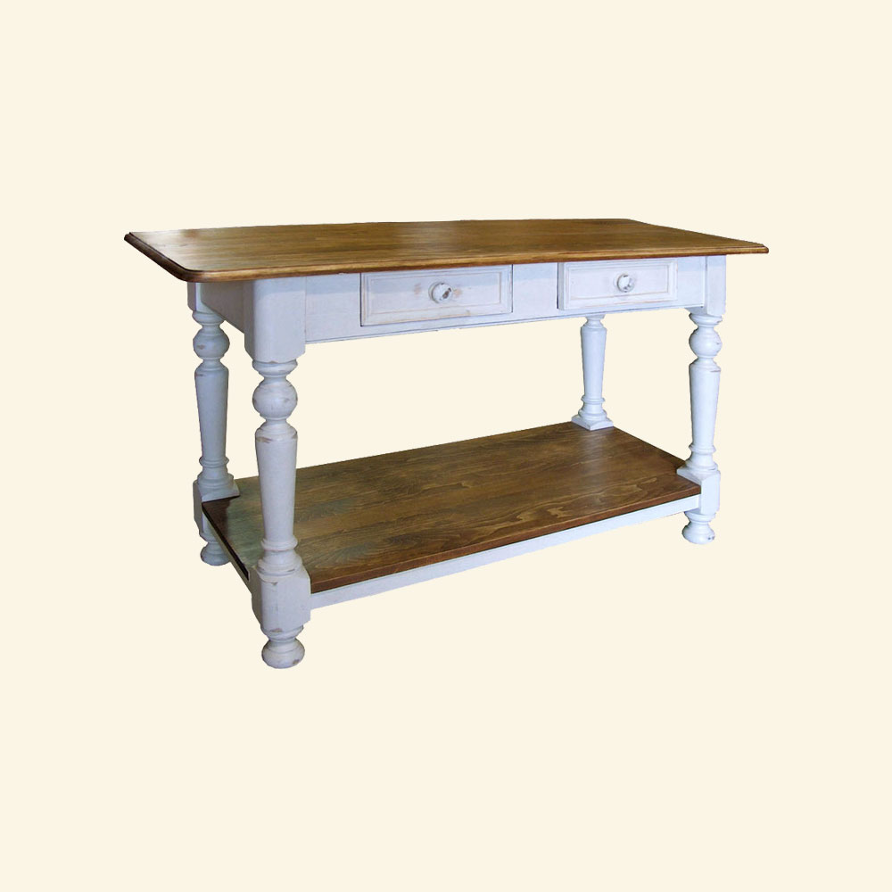 French Country Turned Leg Sofa Table