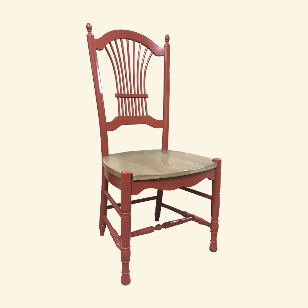 Wheat Back Side Chair, Fort York Red paint