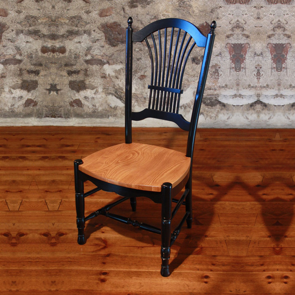 French Country Wheat Back Chair, painted Black
