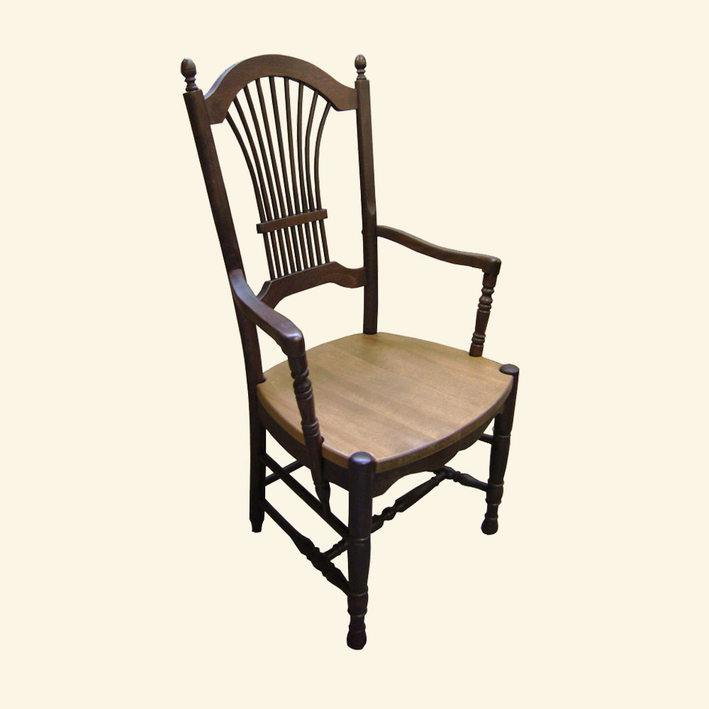 French Country Wheat Back Chair, Walnut stain