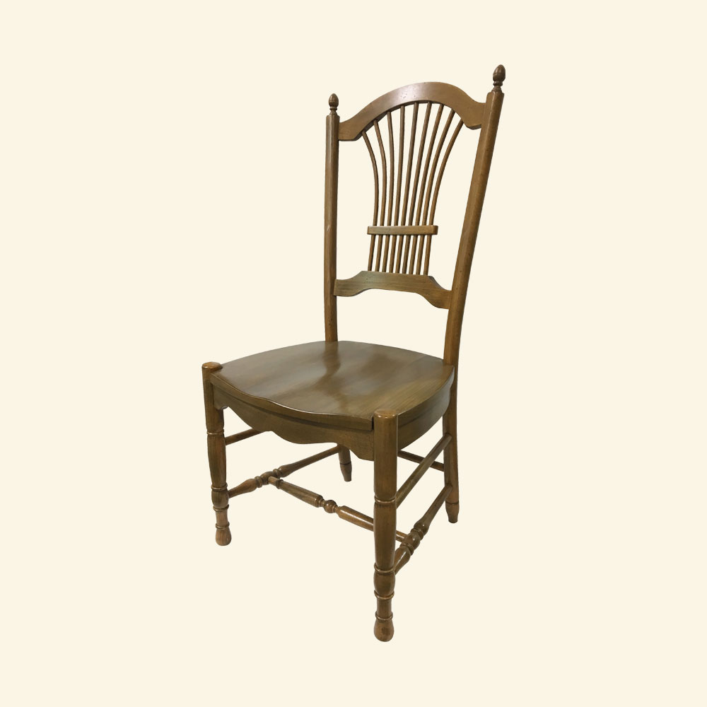 French Country Wheat Back Chair with wood seat