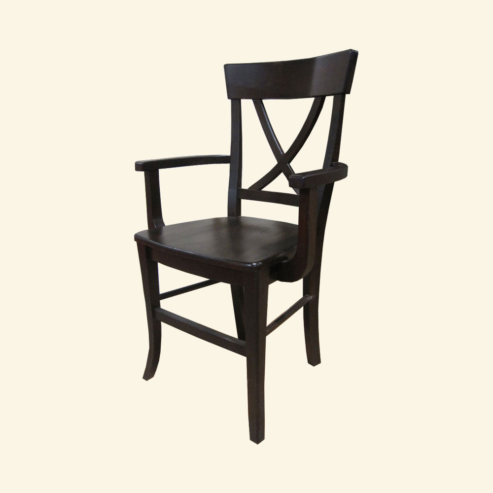 French Country X Back Arm Chair, Black paint
