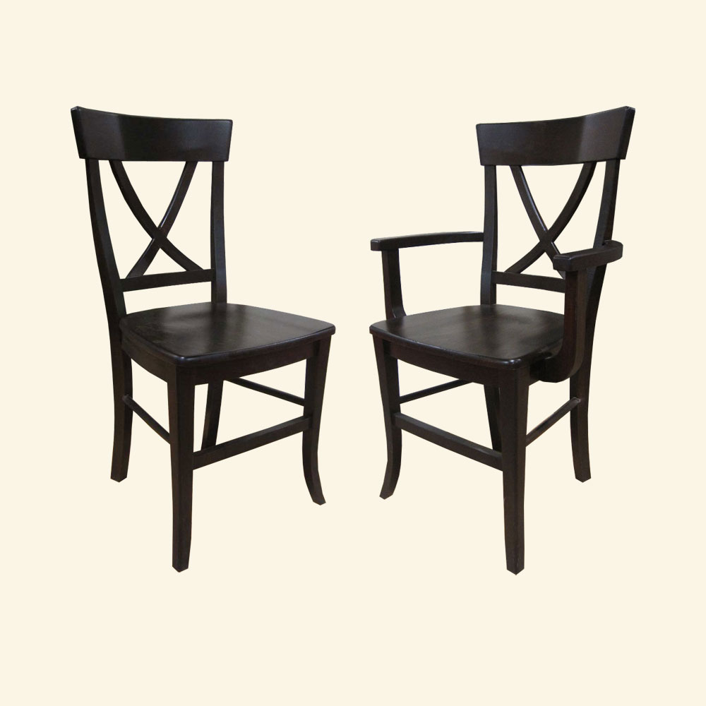 French Country X Back Side Chair and Arm Chair
