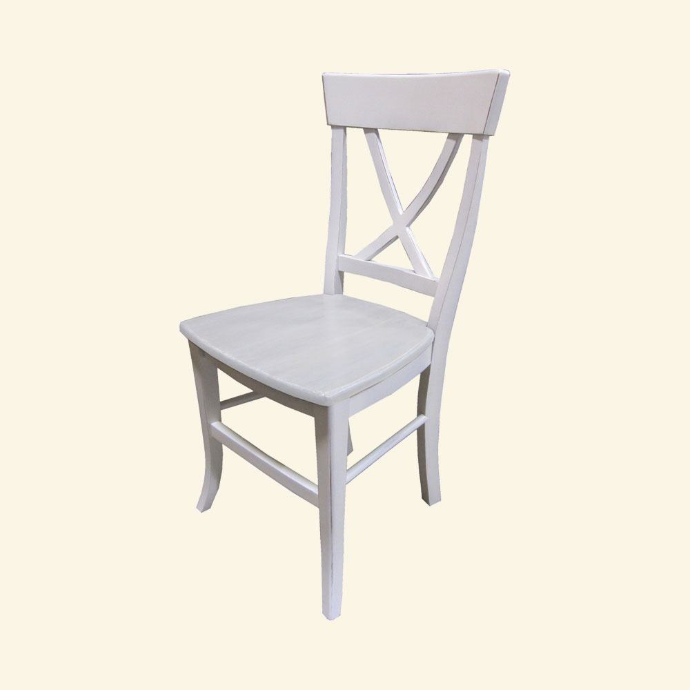 French Country X Back Side Chair, Sturbridge White paint