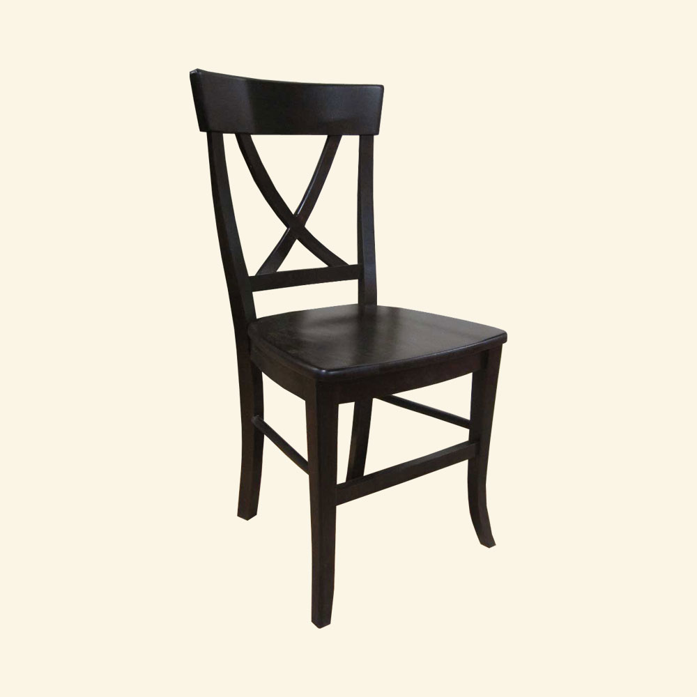 French Country X Back Side Chair, Black paint