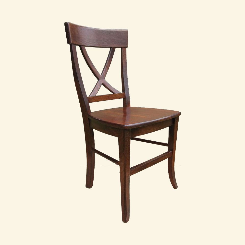 French Country X Back Side Chair, Sequoia aged finish stain