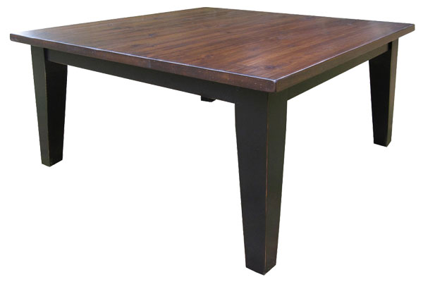 French Country 60 inch Square Table, Black with Sequoia top