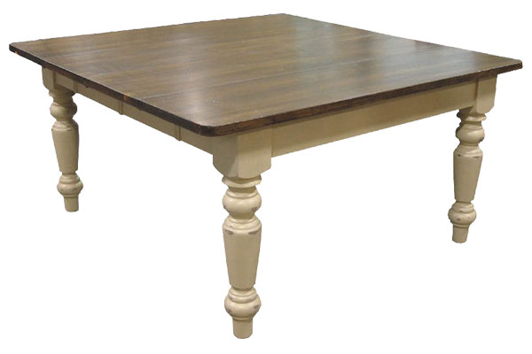 French Country 60 Square Table, Buttermilk with Sequoia top