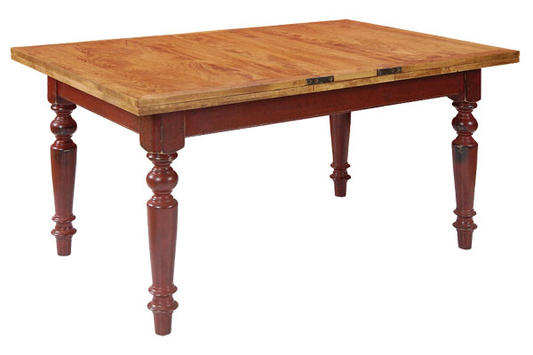 French Country Butterfly Farm Table, Barn Red with Natural top