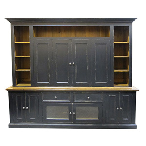 Large Media Unit TV Wall Unit Black