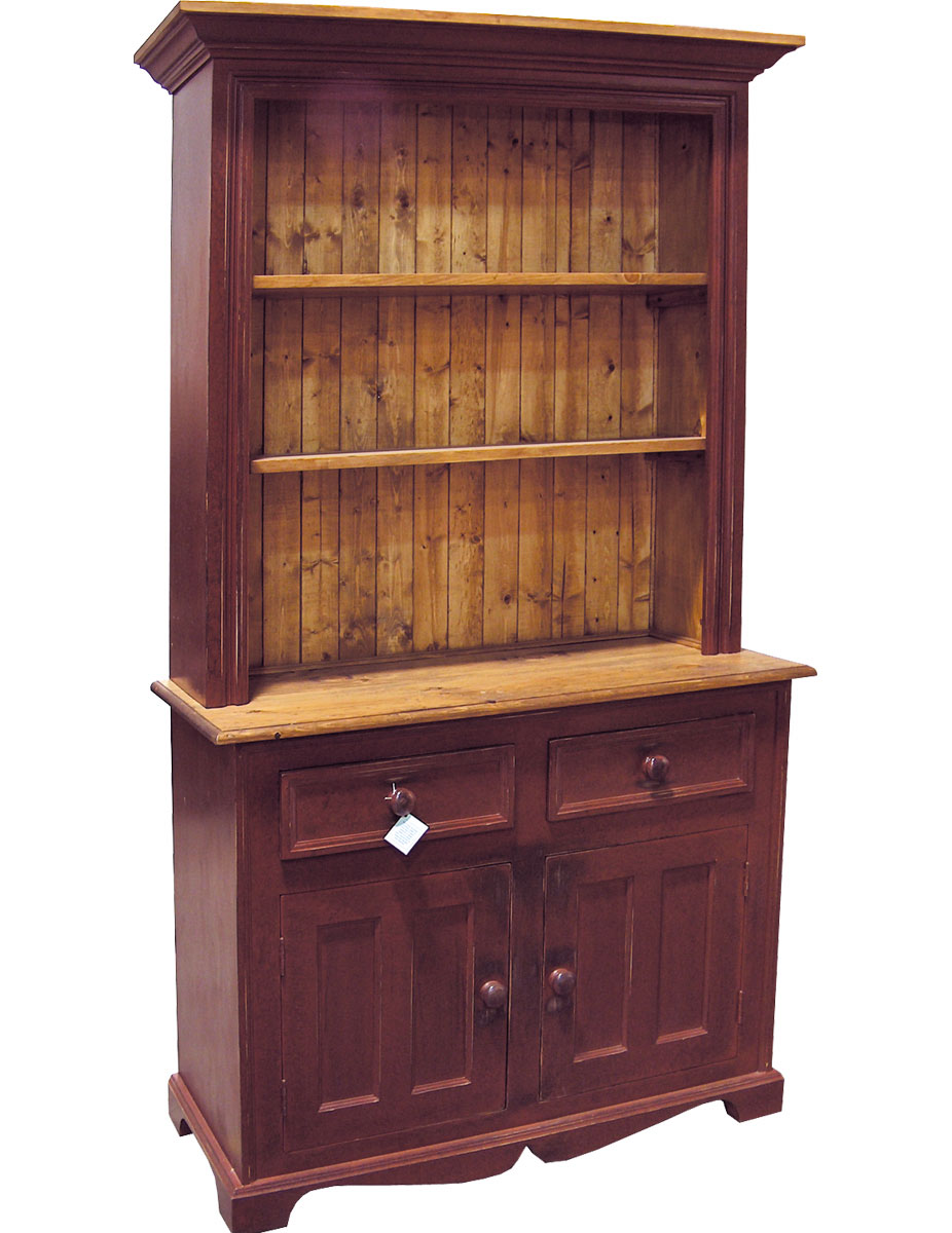 2 door open shelf hutch with painted rubbed finish