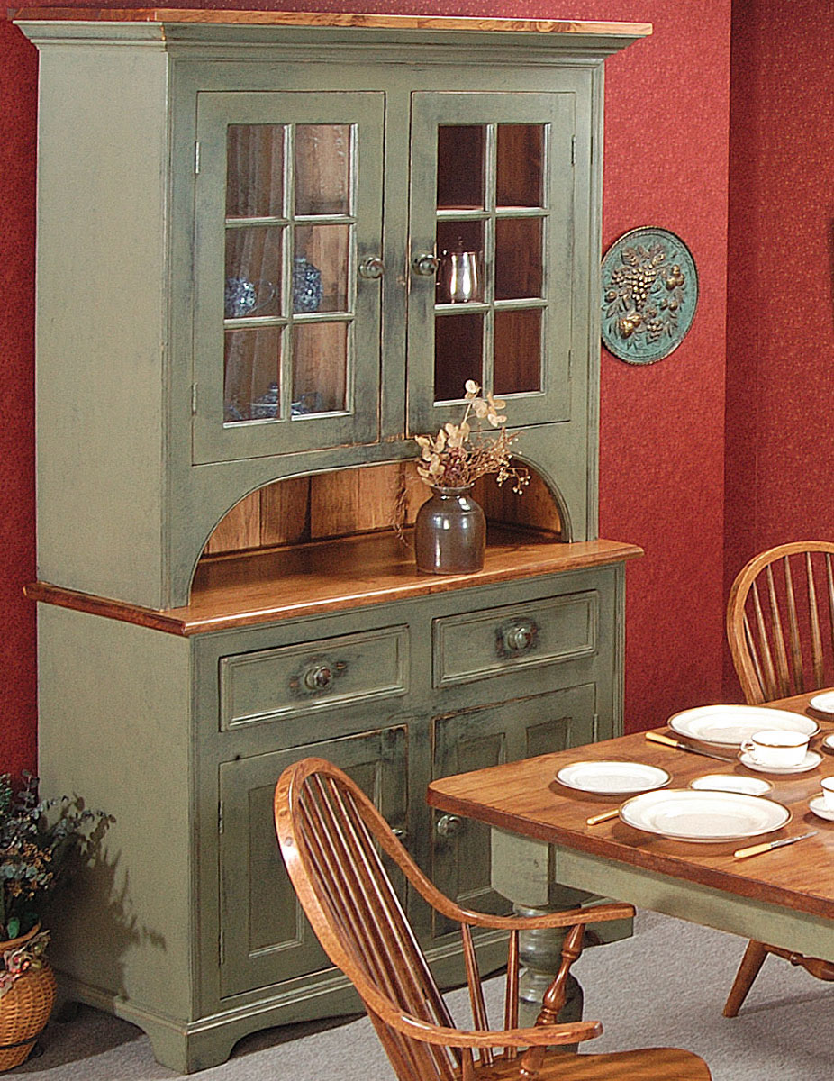 2 glass door cupboard finished in sage green paint