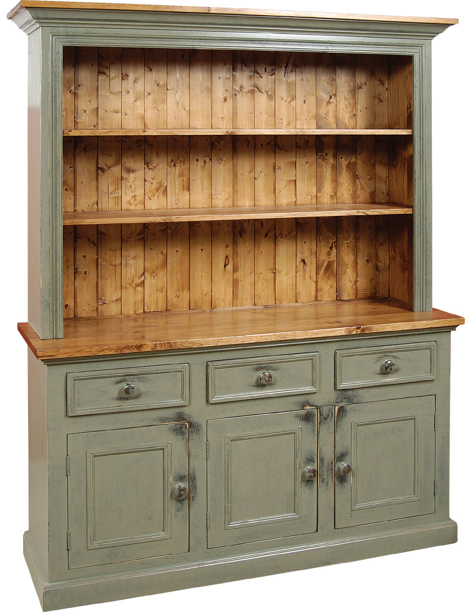 3 door open cupboard painted with rubbed finish