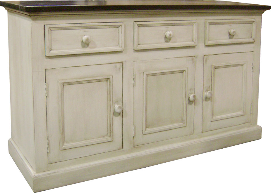3 door sideboard with painted base and stained top