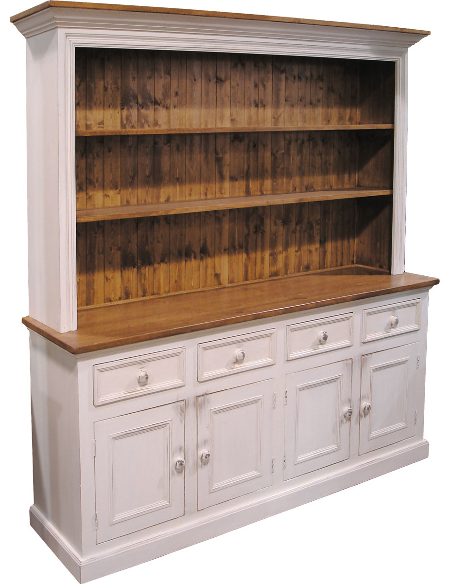 4 door open cupboard painted with rubbed finish