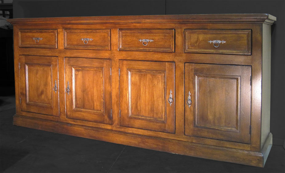 4 door sideboard aged finish stain