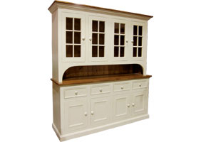 Four Glass Door Stepback Hutch