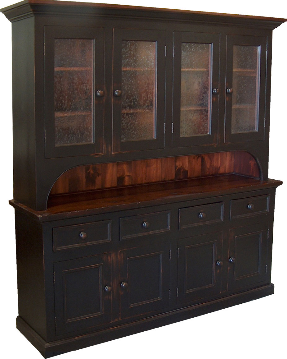 four glass door cupboard finished in black with black cherry