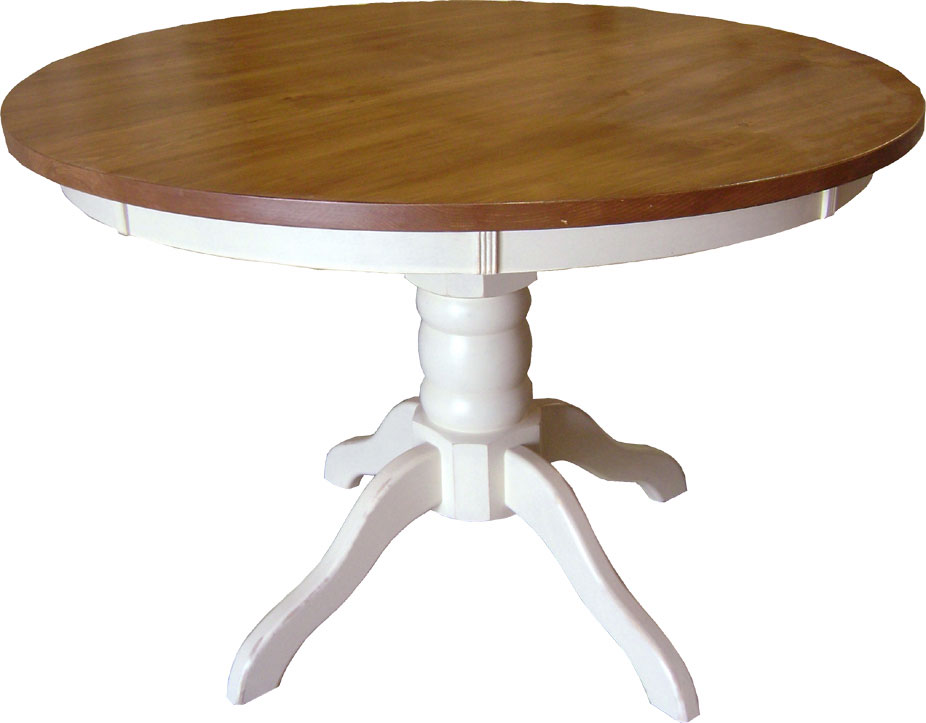 48 inch round footed pedestal table finished in sturbridge white paint