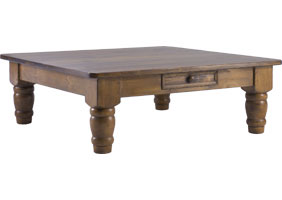 48 inch square coffee table with six inch turned legs, 4 feet wide, stained caramel aged finish stain