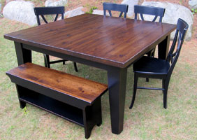 60 inch Square Table, Black