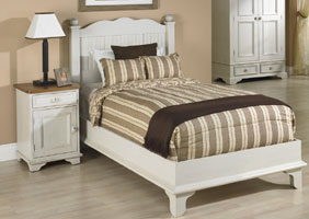 Beadboard Curved Headboard Platform Bedroom set