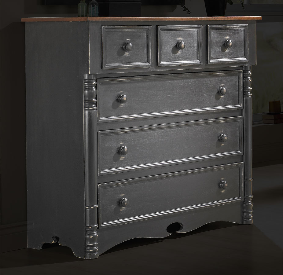 Bonnet chest of drawers finish in black paint finish