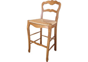 Country French Ladderback Barstool in natural stain with Rush seat
